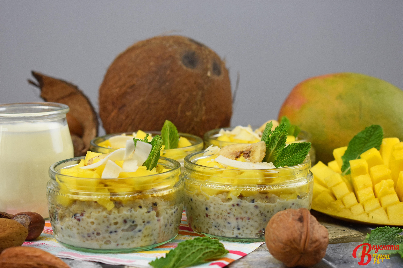 кокосов киноа пудинг с манго и печен банан рецепти